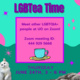 """Image description:  Graphic is light teal on the top half and dark teal on the bottom half, with various colored circles and sparkles. Some sparkles are purple and others are pink, and the circles are pink. There are two realistic images of cats at the bottom.   In the middle of the graphic is a pink square with a purple border and text inside. There is bigger text above the square and more text under the square. All the text is a dark purple shade.  The text on top says: """"LGBTea Time""""  The text in the square says: """"Meet other LGBTQIA+ people at UO on zoom! Zoom meeting ID: 444 929 5668""""  Under that text, inside the square, is the image of a cyan cup on a small yellow teacup platter.   The text under the pink square says: """"Thursday, June 24th, 3 - 6 PM"""".  End description"""