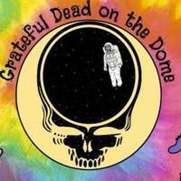 Grateful dead logo with tie dye and an astronaut