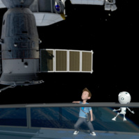 Still from film with boy and robot looking at the ISS