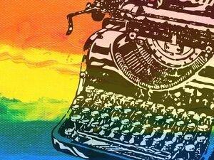 graphic of typewriter against rainbow background