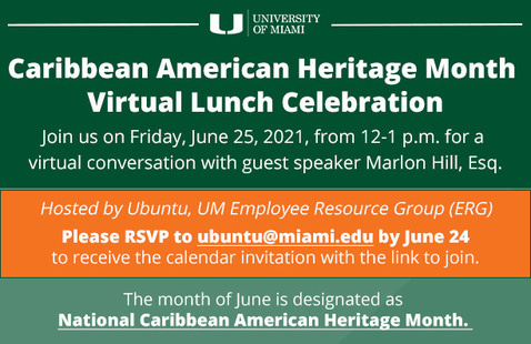 Caribbean American Heritage Month Virtual Lunch Celebration