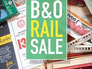 Graphic text with event title over background of miscellaneous railroad memorabilia