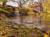 Historic Gristmill Wheel Working in Action