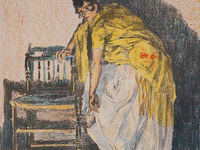 """Alexandre Lunois, """"Spanish Woman Putting On her Shoe"""", (detail) n.d., color lithograph"""