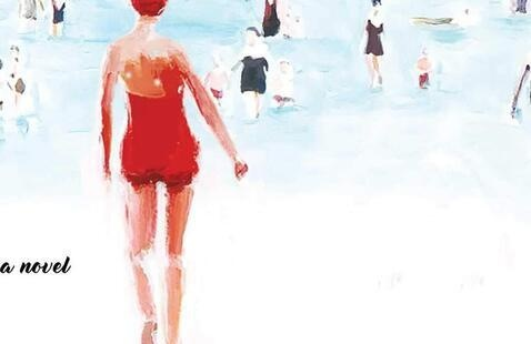 woman in red bathing suit