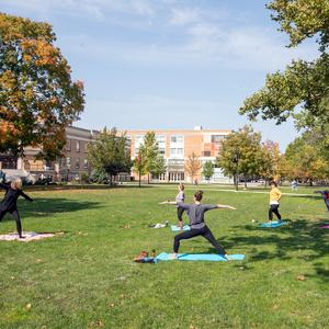 Yoga on the quad