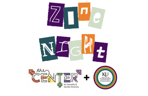 """The text """"Zine Night"""" in cut out letters with The Center and Emil Taylor Center logos underneath"""