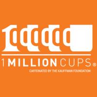 "Image description: 1 Million Cups logo ""1 Million Cups Caffeinated By The Kauffman Foundation"""