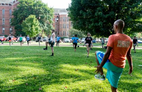 Members exercising outdoors at The Ridges