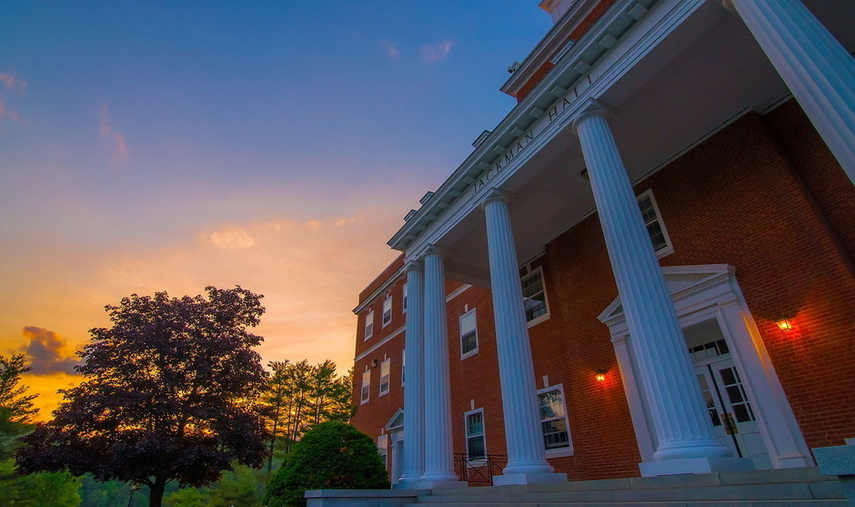 Jackman Hall at sunset