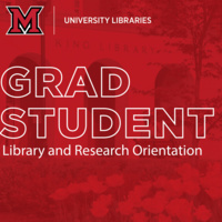 """Image of King library exterior with red overlay and white lettering reading,  """"Grad Student Library and Research Orientation"""""""