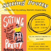 A flyer for the Common Reading Author Visit. July 14th 1:30-2:30; go.fiu.edu/sittingpretty