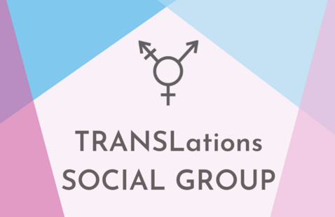 """Pink and blue triangles surround the transgender symbol and text that reads """"TRANSlations Social Group"""""""