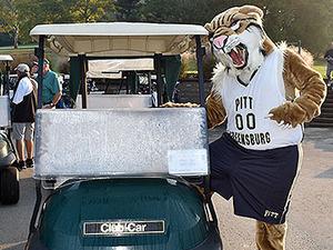 Bruiser getting into a golf cart