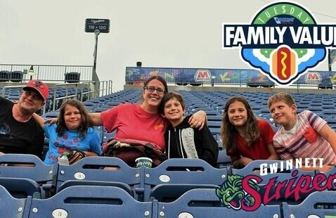 Family at Gwinnett Baseball game