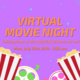 """Image description:  Graphic has a purple background with orange text in the middle and cyan blue sparkles against the background color.  At the bottom of the graphic is two images of popcorn cartons and two film reels. One reel has yellow accents and lime green film and the other has red accents and pink film.  The text in the middle says: """"Virtual movie night taking place on the LGBTESS Discord Server! Mon, July 12th, 3:30 - 5:30 pm"""".  End description."""