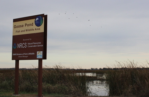 Entrance sign for Goose Pond Fish & Wildlife Area