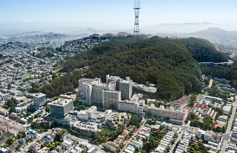 Aerial view of Parnassus Heights campus