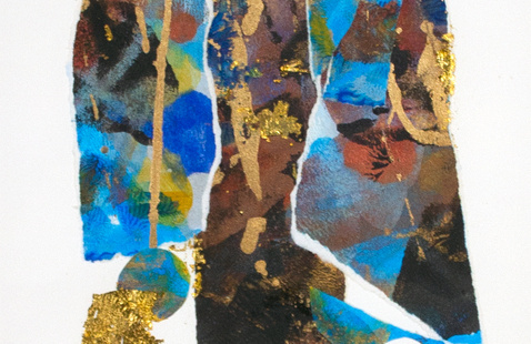 """Selma Glass, """"Shades of Blue,"""" 1995, mixed media on paper, Paul R. Jones Collection of American Art at The University of Alabama, PJ2008.0249."""