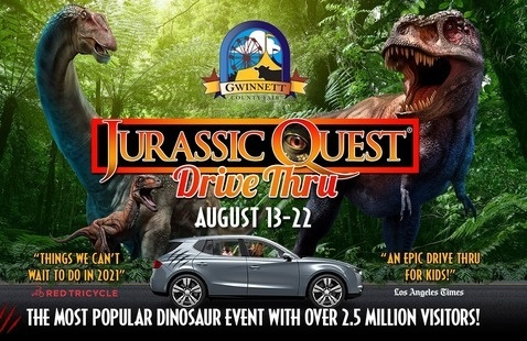 dinosaurs in a parking lot