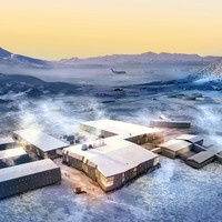 Overhead view: Artist rending of McMurdo Station with 6 buildings instead of 156.