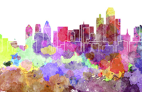 Watercolor Skyline
