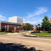 color image of the exterior of Marsh Auditorium at USM