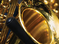 image of a gold saxophone instrument