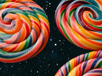 color image of colorful swirled hard candy