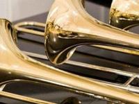 color image of trombones