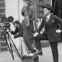 black and white photo of Hollywood movie filming