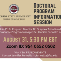 Social Work Doctoral program information session on Tuesday, August 31 at 5:30PM