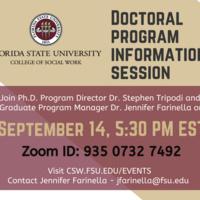 Social Work Doctoral program information session on Tuesday, September 14 at 5:30PM