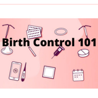pink background, cartoon images of birth control methods. text reads