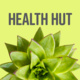 """succulent with text """"health hut"""""""