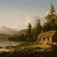 """Image: Detail. Thomas Cole, """"Home in the Woods"""" (1847). Oil on canvas. Reynolda House Museum of American Art. Gift of Barbara B Millhouse."""