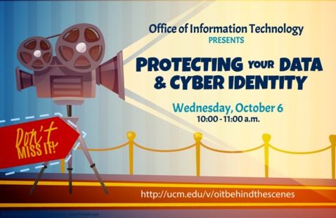 OIT Behind the Scenes webinar poster with a picture of an old projector and red carpet.