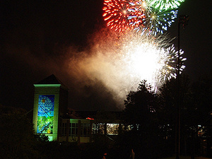 Fireworks at Millstein Library