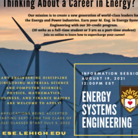 Thinking about a Career in Energy?   Join Energy Systems Engineering Info Session