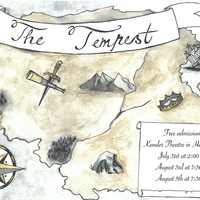 Poster for The Tempest, featuring a map with a compass rose, mountains, forests, a cave, a crown, a ship, a sword, and a spyglass
