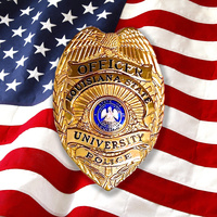 LSU Police Officer badge on an American flag