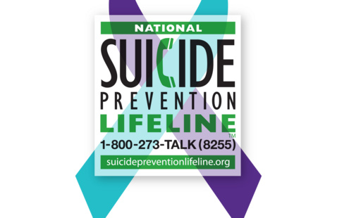 National Suicide Prevention ribbon with hotline number: 800-273-8255
