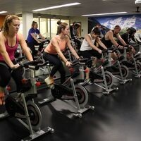 students in a cycling class