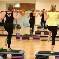 students in a power barre class