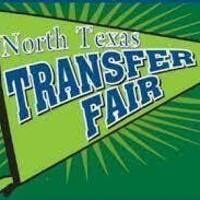 This is a graphic of a pennant that reads North Texas Transfer Fair in blue and green.