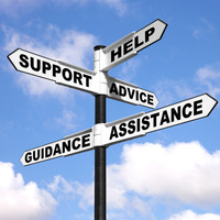 Roads signs pointing in different directions with the words support, guidance, help, advice, assistance on each sign representing Clinical Supervision