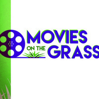 """Image of a film reel and the text """"Movies on the Grass"""""""