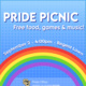 """A blue sky background. A border in the trans flag colors runs across the top, left, and right. A rainbow arc runs across the bottom. Bold white text over the rainbow reads: """"Pride Picnic, free food, games and music!"""" White text on top of the rainbow reads: """"September 2, 4:00pm, Regent Lawn."""""""