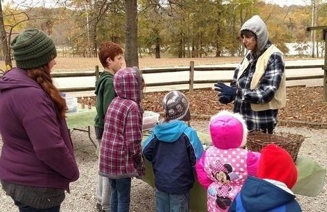 Naturalist talking to campers