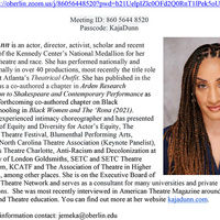 A block of text describing Kaja Dunn's professional and academic work. To the right of the text is a portrait of Kaja Dunn, a Black woman with braided hair wearing a dark top.